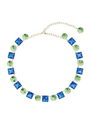 Ninon Anna Grass Green & Sapphire Kristal Kolye Yeşil